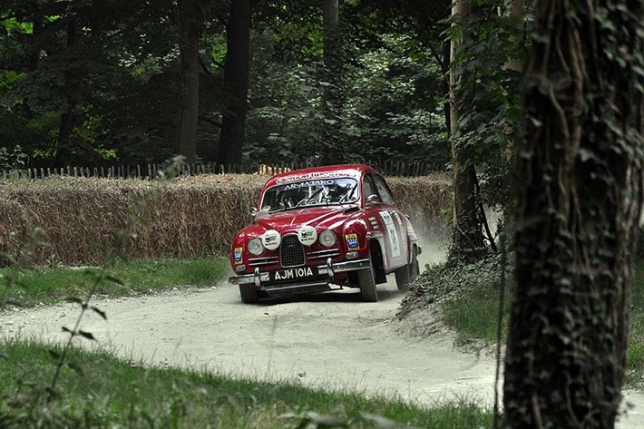 Saab 96 tackles the Rally Stage
