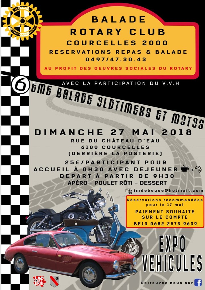 6ème Balade Oldtimers et Motos Rotary Courcelles 2000
